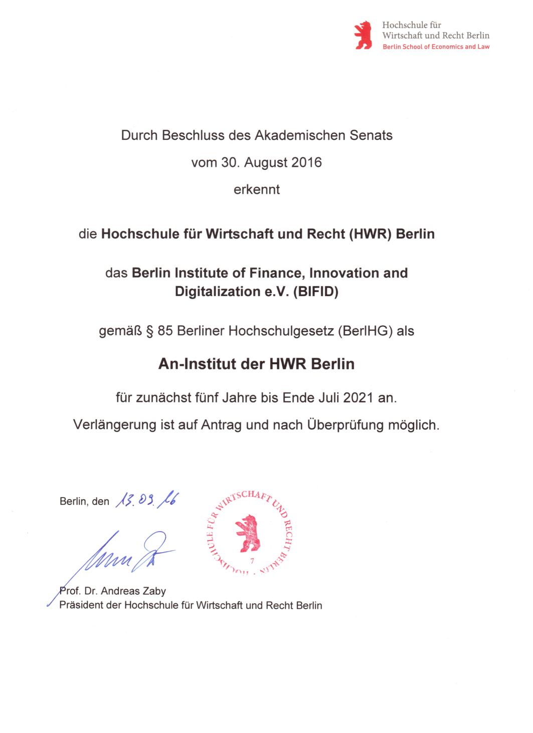 HWR Zertifikat